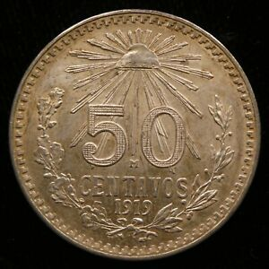 1919 Mexico 50 Centavo .800 Silver AU KM 429 (M434)