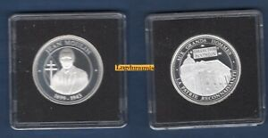 Médaille Jean Moulin Collection Panthéon Grands Hommes Argent 800 % 30 mm