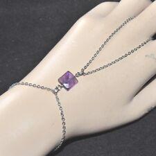 Chaîne de main bracelet bague acier (colori argent ) Améthyste naturelle bijou