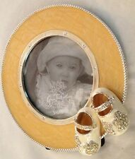 """Goldtone Rhinestones 5"""" Round Picture Frame w Baby Shoes Holds 3 1/2"""" Photo"""