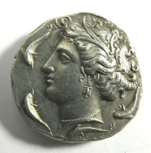 Ancient Vintage Greek Silver Coin Arethusa Dolphns & Chariot Decadrachm Repro