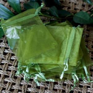 Green Small Organza Bags, Wedding Gift, Party Favour, Drawstring Pouch. 9x7cm