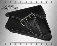 2004 UP La Rosa Black Leather White Stitch La Fondina Harley Sportster Saddlebag