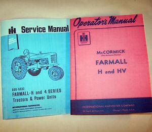 FARMALL H HV TRACTOR SERVICE MANUAL OPERATORS OWNERS SHOP REPAIR WORKSHOP SET