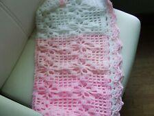 """Pinks+White Hand Knit Crochet Blanket 27"""" X 27"""""""