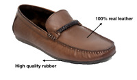Men's Brown Size 11,10,9,8,7 Casual Formal Smart Office Real Leather Flat Shoes