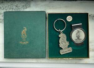 Atlanta 1996 100th Olympics Pewter Money Clip & Key Chain with Original Box