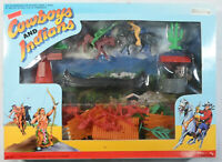 TOYLAND VTG 80's COWBOYS & INDIANS TOY SOLDIERS SET w/ ACCESSORIES & SCENERY MIP