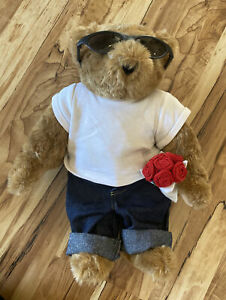 Vermont Teddy Bear with Love Tattoo Sunglasses Jeans Roses T Shirt Jointed 15""