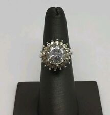 Cz Engagement Ring Size 6 Designer Sterling Silver And Clear