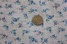 """Antique Doll Scale Tiny Tossed Rose Cotton Fabric Yardage c1920~1 yd 5""""L X 17""""W"""