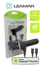 Lenmar Micro USB In Car Charger Dual Cable For Samsung Huawei Sony LG Nokia NEW