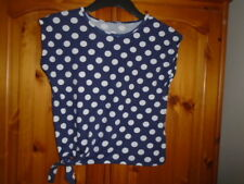 Navy and white waist length side tie spotted top, ATMOSPHERE, size 10-12