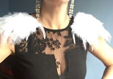Feather Shoulder Pads with clips,  White Angelicfeather epaulettes One Pair
