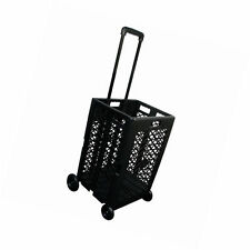 Mesh Rolling Shopping Cart Folding 4-Wheeled Grocery Basket Portable Storage