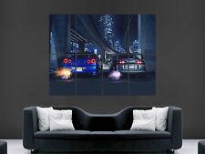 NISSAN SKYLINE R34 TOYOTA SUPRA POSTER PRINT STREET RACING WALL ART HUGE IMAGE