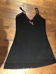 Ladies Lingerie Size 14 Black Slip Knee Length
