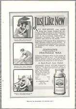 1918 JOHNSON'S WAX advertisement, polishing the Victrola and automobile