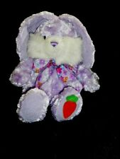 "WALMART PURPLE BUNNY CARROT ON FOOT PLUSH TOY CURLY FUR FLOWER BOW NWOT 15""H"