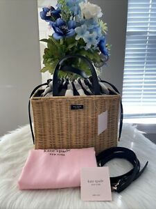 NWT Kate Spade Sam Gingham Wicker Medium Satchel Shoulder Bag $398 Gift