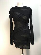 Burberry Prorsum AW2010 black wool cashmere long jumper bondage style sweater S