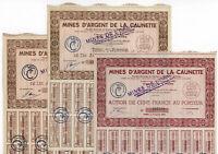 3er Lot: Mines d' Argent de la Caunette - 3 Aktien einer SILBERMINE von 1947 !