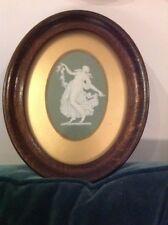 RARE Wedgwood Dancing ore antico ovale PLACCA in oro Cornice in quercia ORIGINALE mount