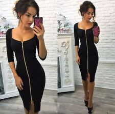 US Sexy Womens Deep V Neck Bodycon Front Zipper Cocktail Ladies Party Midi Dress