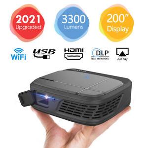 Tragbarer WIFI 3D Projektor DLP Mini Heimkino Beamer Full HD 1080p Airplay HDMI