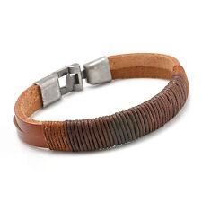 Surfer Mens Vintage Hemp Wrap Leather Wristband Bracelet Cuff Black Brown