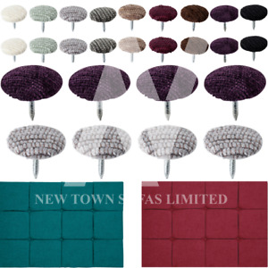 Chenille Fabric 30L/18 mm Covered Nail Back Buttons Upholstery Headboards Sofas.