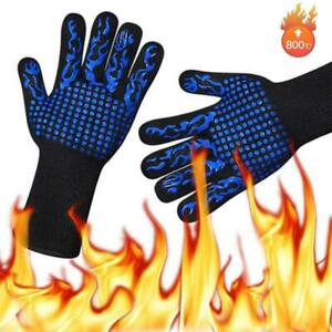 1pc Heat Resistant Grilling Gloves No-Slip Oven Mitts Gloves Durable S9J6