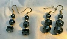 Hematite Dangle Earrings - 2 Pair