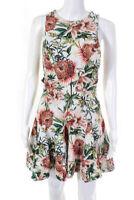 STYLESTALKER Womens Orange Flora Print Dress White Pink Size Small 12061110