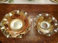 Jeanette Iris And Herringbone Iridescent Ruffled Fruit And Salad Bowl Set