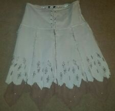 White & Beige Blinged Out Lace Up Pheasant Gypsy Skirt Boho Hippie Tattered L