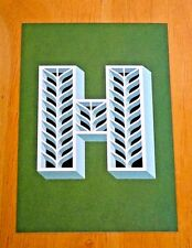 JESSICA HISCHE TYPOGRAPHIC POSTCARD ~ DAILY DROP CAPITAL LETTER H ~ GREEN ~ NEW