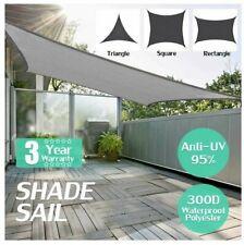Heavy Duty Waterproof Proof Sun Shade Sail Grey Gray Triangle Square Rectangle