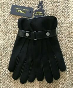 Polo Ralph Lauren Mens Wool/Leather Gloves Black Large Touch Screen Thinsulate