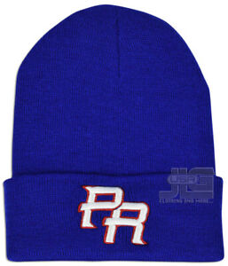 PR Embroidery Men Women Hat New Puerto Rico Skull Winter Knit Beanie with Cuff