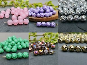 Czech glass rose round beads 8 mm - various colours - pack of 30