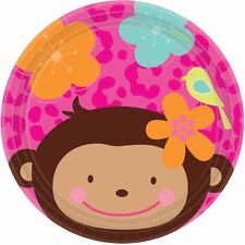 "Amscan 8 Pack MONKEY LOVE Pink Birthday Round Paper Plates 7"" All Occasions"