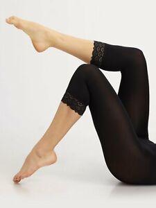 New & Unworn WOLFORD Capri Peacock Lace Trim Black Cropped Leggings - Large