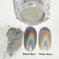 2g Nail Holographic Laser Nail Art Glitter Powder Rainbow Chrome Pigments Silver