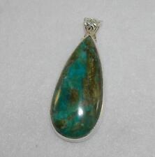 Peruvian Opal Blue Green Large Teardrop Pendant Sterling Silver