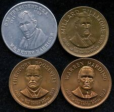 """4 United States President Tokens """" Harrison, Fillmore, T.Roosevelt, Harding """""""