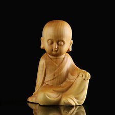 Fine China Boxwood handwork carving free little monk figure statue