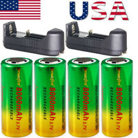 3.7V 26650 Batteries Rechargeable Li-ion Battery For Torch Flashlight lot USA .*