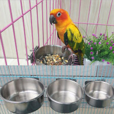 Bird Parrot Food Water Feeding Bowl Pet Cage Clip Cup Dispenser Stainless Steel