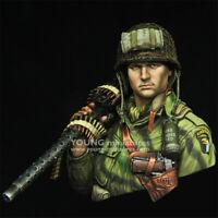 1/10 Unpainted WW2 US Soldier Resin Bust Model Kits GK Unassembled